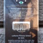 Tablica informacyjna Żeńskiej Szkoły Ewangelickiej