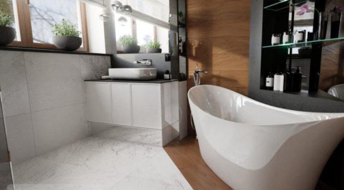 Łazienka podzielona na strefy codzienną oraz relaksu